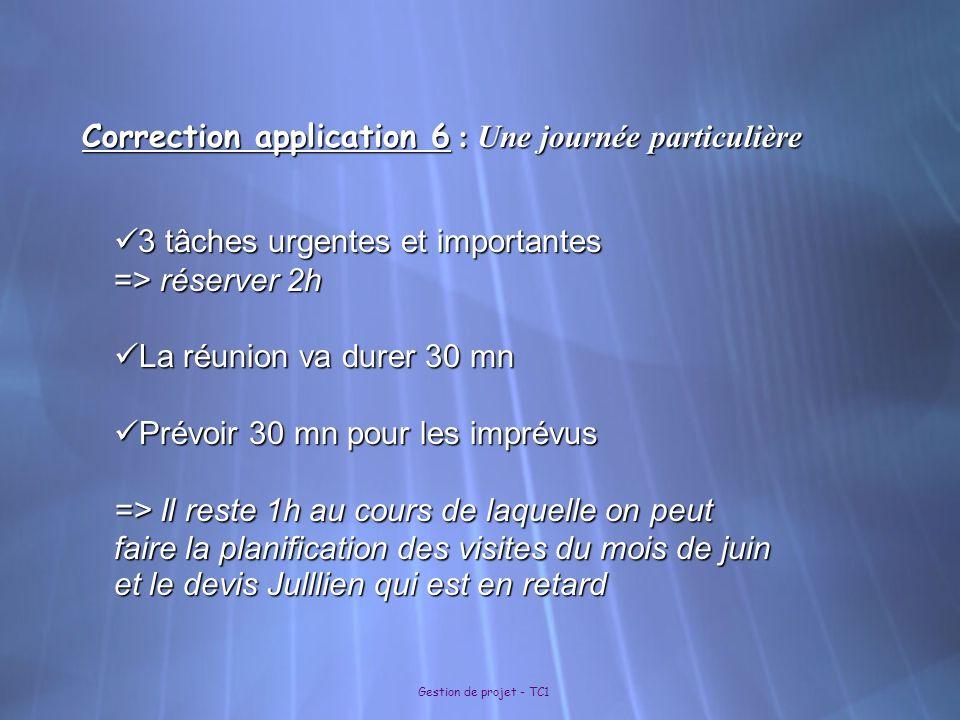 Gestion de projet - TC1 Correction application 6 : Une journée particulière 3 tâches urgentes et importantes 3 tâches urgentes et importantes => réser