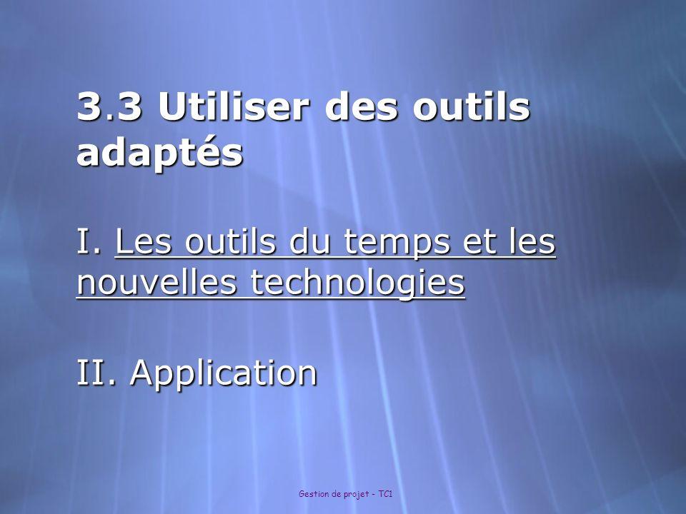 Gestion de projet - TC1 3.3 Utiliser des outils adaptés I. Les outils du temps et les nouvelles technologies II. Application