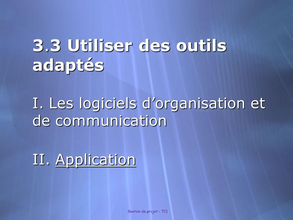 3.3 Utiliser des outils adaptés I. Les logiciels dorganisation et de communication II. Application