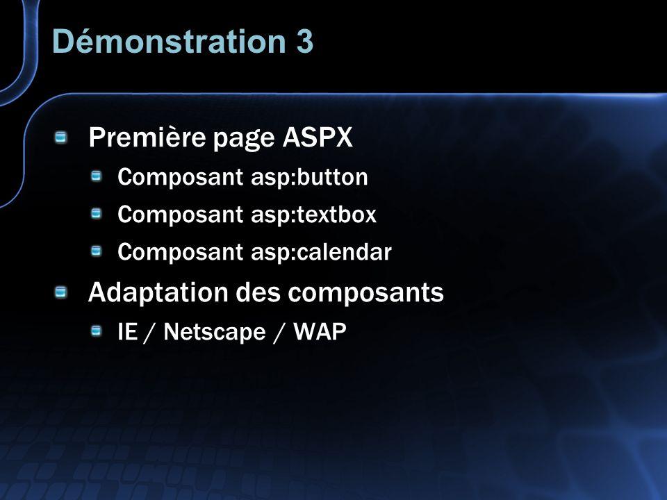 Authentification Lauthentification est intégré à ASP.NET Paramétrage Web.Config Pour sauthentifier utiliser lobjet FormsAuthentication Création dans le context dun objet user Context.User.Identity.IsAuthenticated
