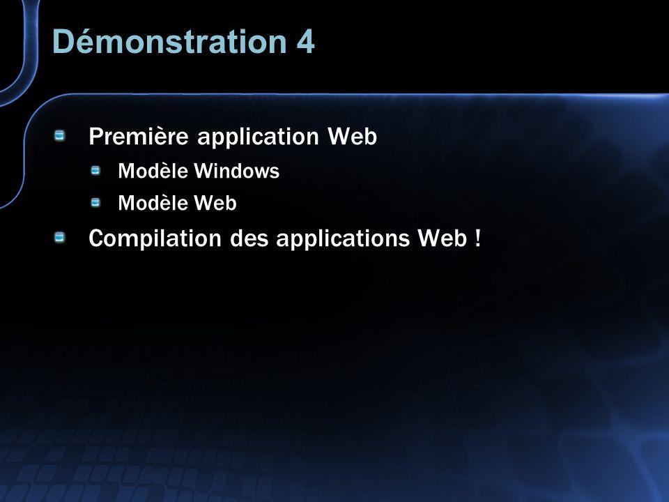 Web Forms Séparation présentation/logique Les pages ASP.NET sont compilées Le contenu et le traitement sont séparés Les développeurs et les graphistes peuvent, en standard, travailler indépendamment Form1.asp Form1.aspx Form1.aspx.vb code code Fichiers distincts / séparation logique Un seul fichier ASP / PHP ASP.NET code code Form1.aspx