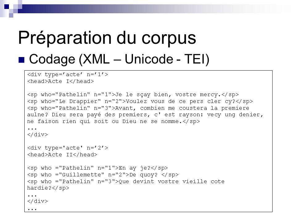 Weblex et le modèle SEMA Analyse quantitative : Analyse factorielle, CAH Indices statistiques maison : Spécificités Cooccurrences (lexicogramme simple et récursif) N-grammes = segments répétés Moteurs de recherche Données textuelles : (ling.) CQP IMS Stuttgart (recherche multi-propriétés / occurrence) & C oncordances KWIC triées (IR) Greenstone (recherche booléenne simple / document) Données orales : NXT Search (NITE) (recherche dans des graphes dannotation) Général : XQuery - eXist Édition de fac-similé Données textuelles : HTML, PDF Données orales : SMIL, PDF