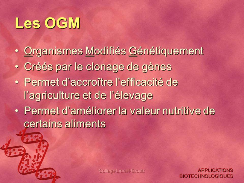 Collège Lionel-Groulx Les OGM Organismes Modifiés GénétiquementOrganismes Modifiés Génétiquement Créés par le clonage de gènesCréés par le clonage de