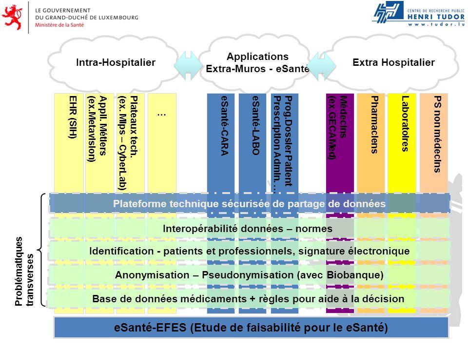 EHR (SIH)Appli. Métiers(ex.Metavision)eSanté-LABOPlateaux tech.(ex. Mips – CyberLab)eSanté-CARAProg.Dossier PatientPrescription Admin. …Médecins(ex.GE