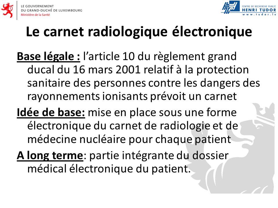 Le carnet radiologique électronique Base légale : larticle 10 du règlement grand ducal du 16 mars 2001 relatif à la protection sanitaire des personnes