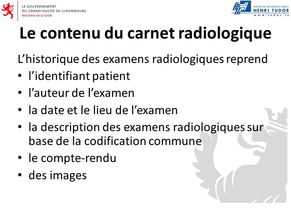 Le contenu du carnet radiologique Lhistorique des examens radiologiques reprend lidentifiant patient lauteur de lexamen la date et le lieu de lexamen la description des examens radiologiques sur base de la codification commune le compte-rendu des images