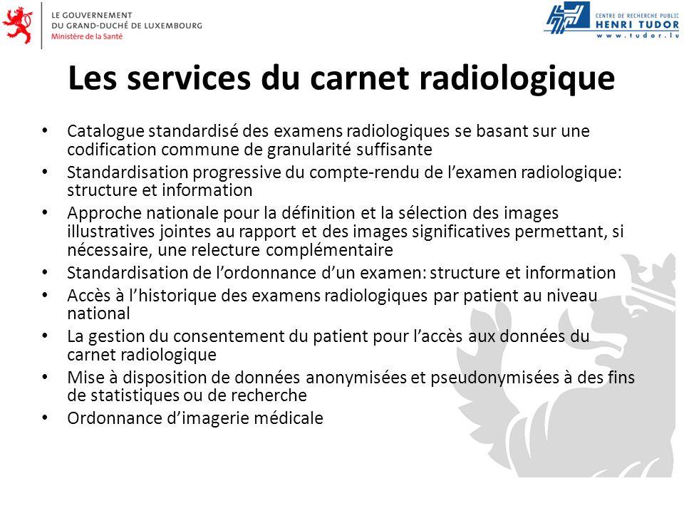 Les services du carnet radiologique Catalogue standardisé des examens radiologiques se basant sur une codification commune de granularité suffisante S