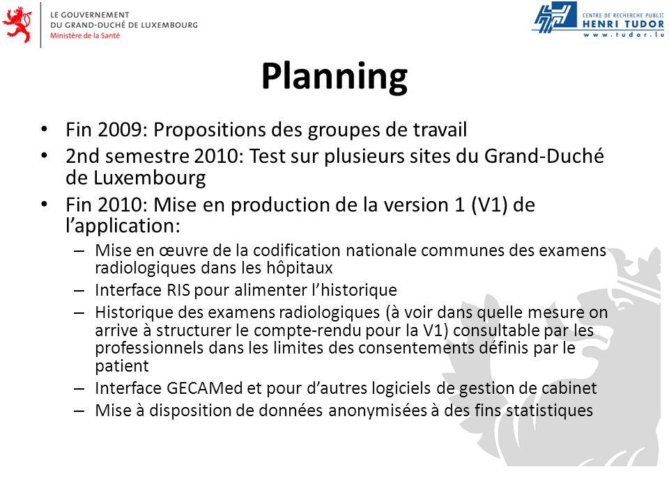 Planning Fin 2009: Propositions des groupes de travail 2nd semestre 2010: Test sur plusieurs sites du Grand-Duché de Luxembourg Fin 2010: Mise en prod