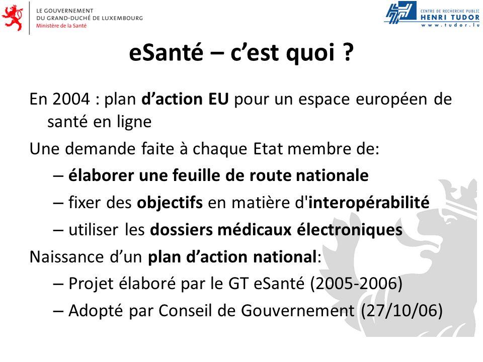 eSanté – cest quoi ? En 2004 : plan daction EU pour un espace européen de santé en ligne Une demande faite à chaque Etat membre de: – élaborer une feu
