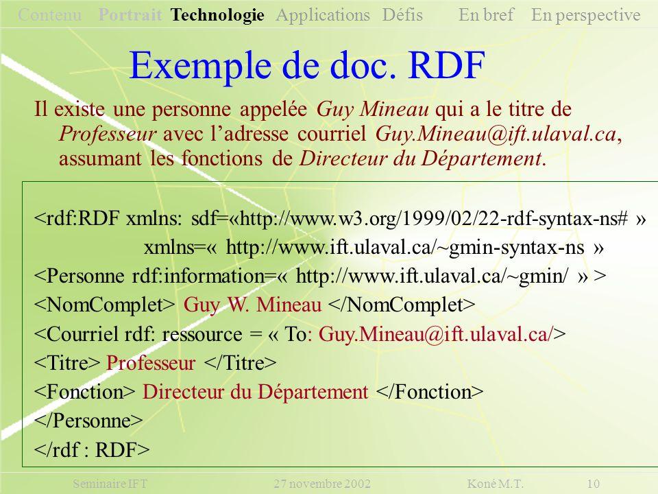 Exemple de doc. RDF Seminaire IFT 27 novembre 2002 Koné M.T. 10 Contenu Portrait Technologie Applications Défis En bref En perspective Il existe une p