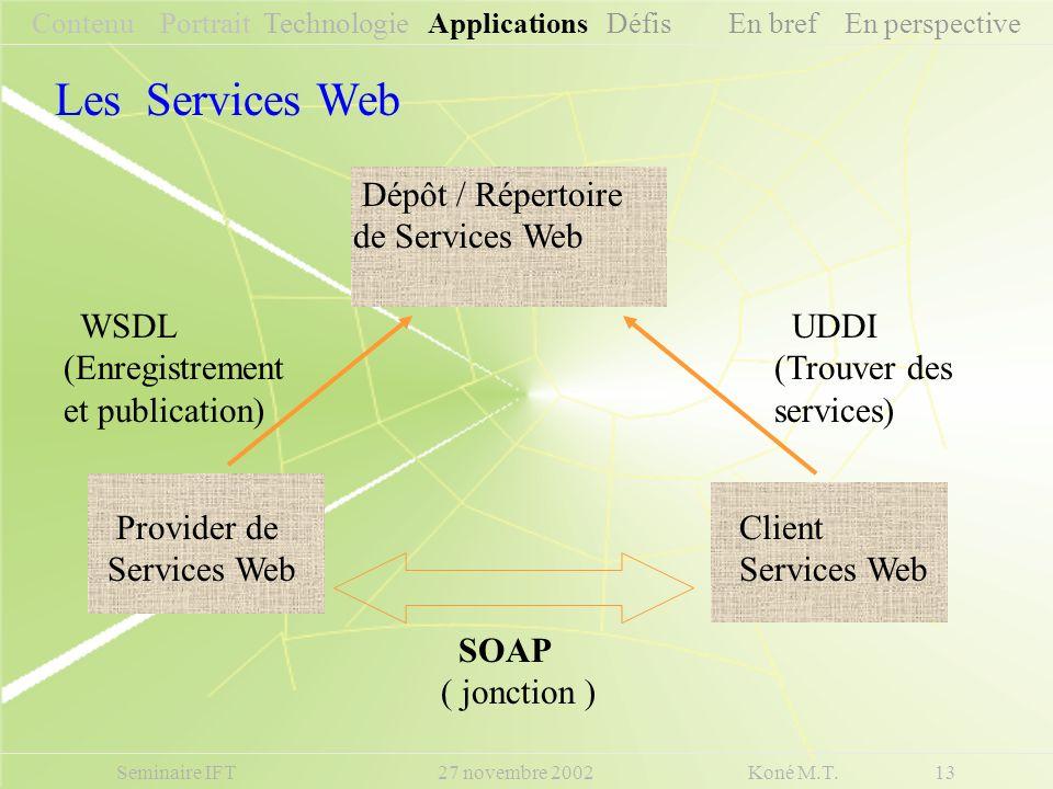 Seminaire IFT 27 novembre 2002 Koné M.T. 13 UDDI (Trouver des services) WSDL (Enregistrement et publication) SOAP ( jonction ) Client Services Web Pro