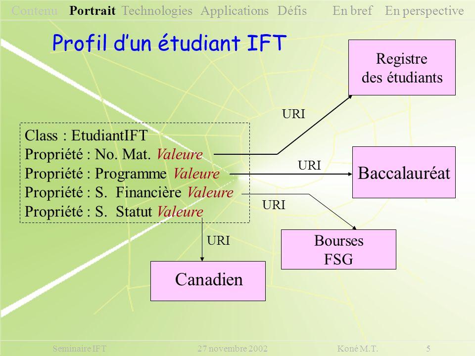 Seminaire IFT 27 novembre 2002 Koné M.T. 5 Contenu Portrait Technologies Applications Défis En bref En perspective Profil dun étudiant IFT Registre de