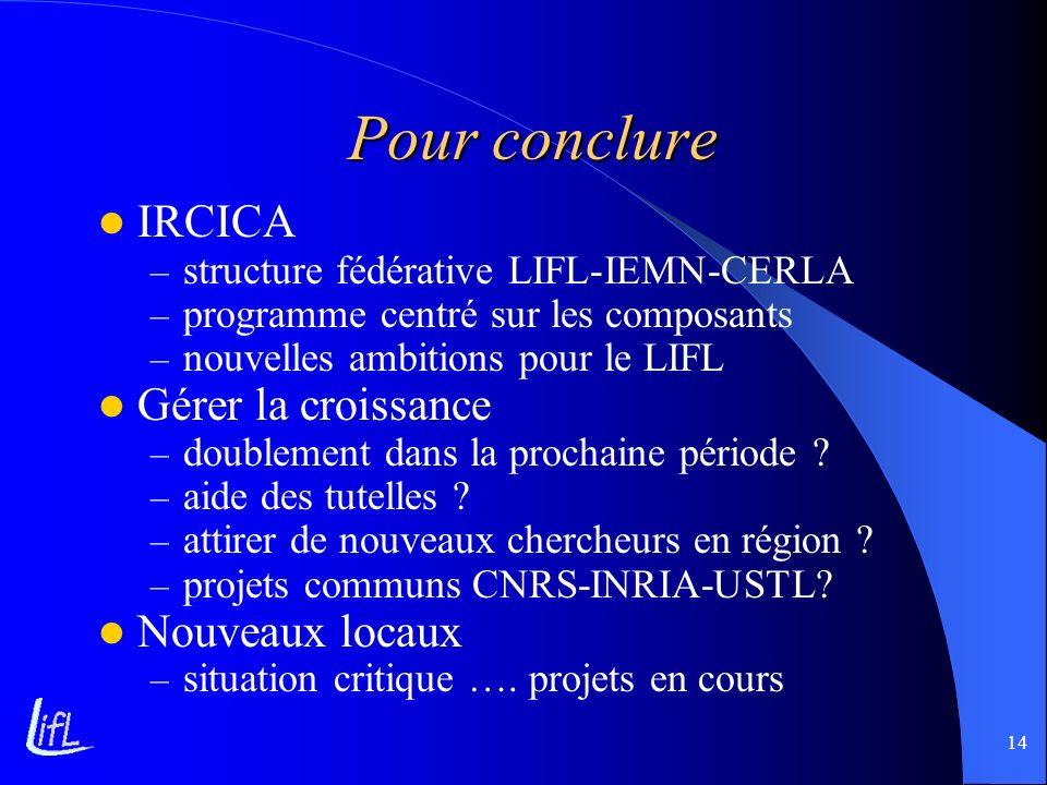 14 Pour conclure IRCICA – structure fédérative LIFL-IEMN-CERLA – programme centré sur les composants – nouvelles ambitions pour le LIFL Gérer la crois