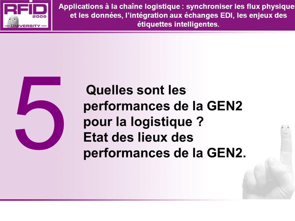 5 Quelles sont les performances de la GEN2 pour la logistique ? Etat des lieux des performances de la GEN2. Applications à la chaîne logistique : sync