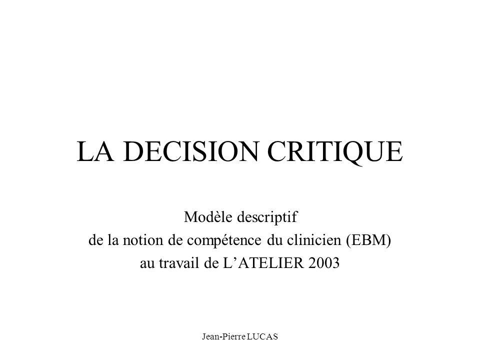 Jean-Pierre LUCAS LA DECISION CRITIQUE Modèle descriptif de la notion de compétence du clinicien (EBM) au travail de LATELIER 2003