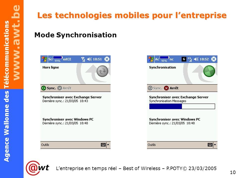 www.awt.be 10 Agence Wallonne des Télécommunications Lentreprise en temps réel – Best of Wireless – P.POTY© 23/03/2005 Les technologies mobiles pour l