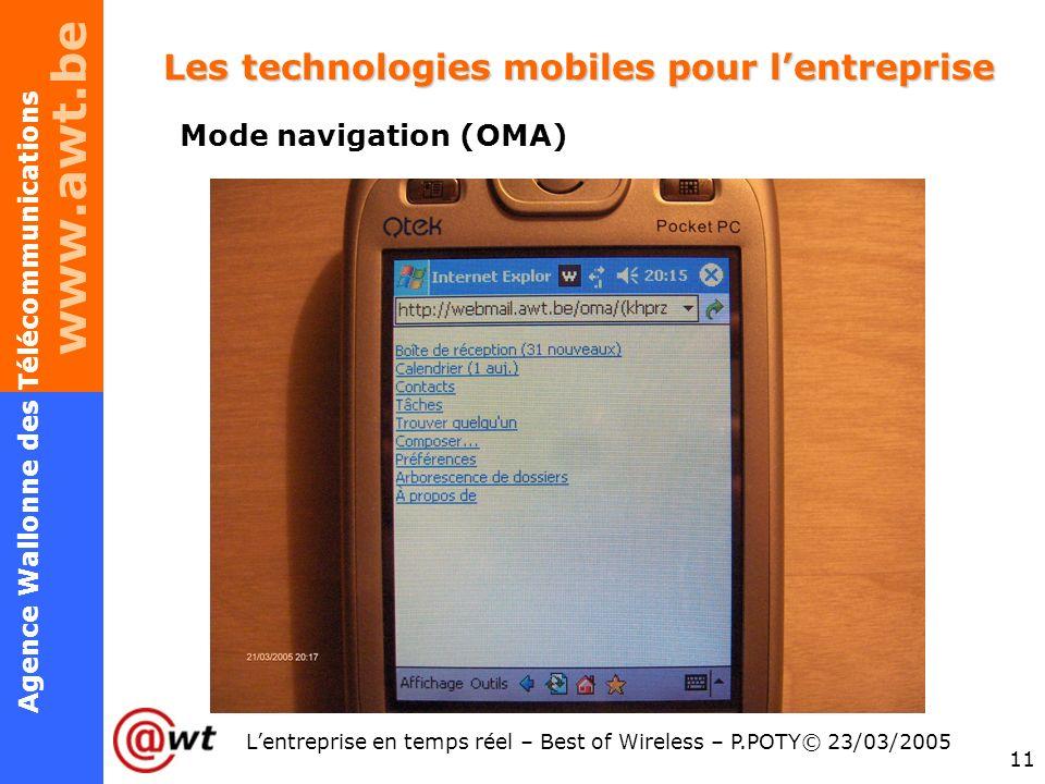 www.awt.be 11 Agence Wallonne des Télécommunications Lentreprise en temps réel – Best of Wireless – P.POTY© 23/03/2005 Les technologies mobiles pour l