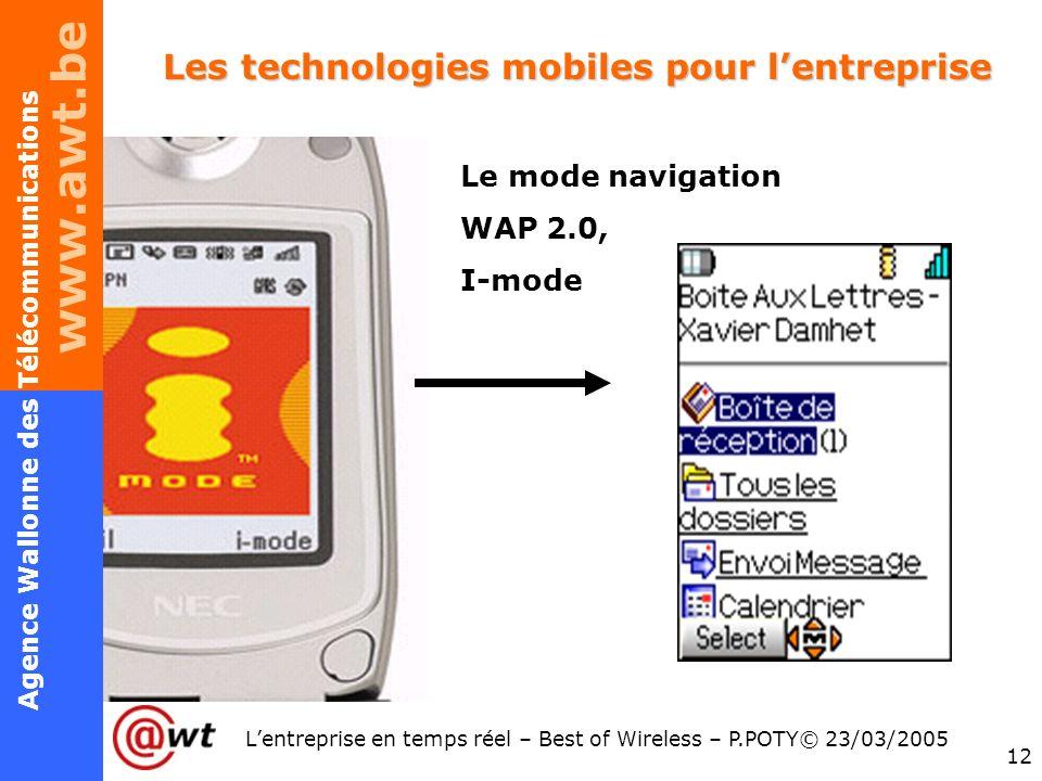 www.awt.be 12 Agence Wallonne des Télécommunications Lentreprise en temps réel – Best of Wireless – P.POTY© 23/03/2005 Les technologies mobiles pour l