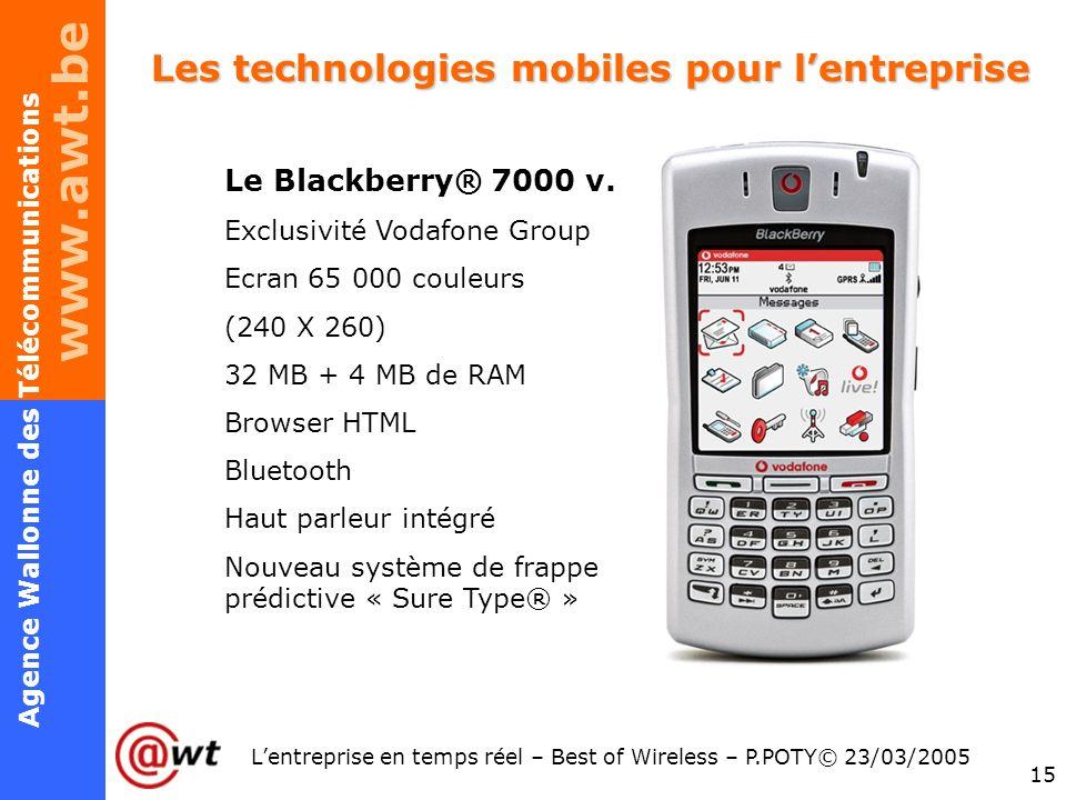 www.awt.be 15 Agence Wallonne des Télécommunications Lentreprise en temps réel – Best of Wireless – P.POTY© 23/03/2005 Les technologies mobiles pour l