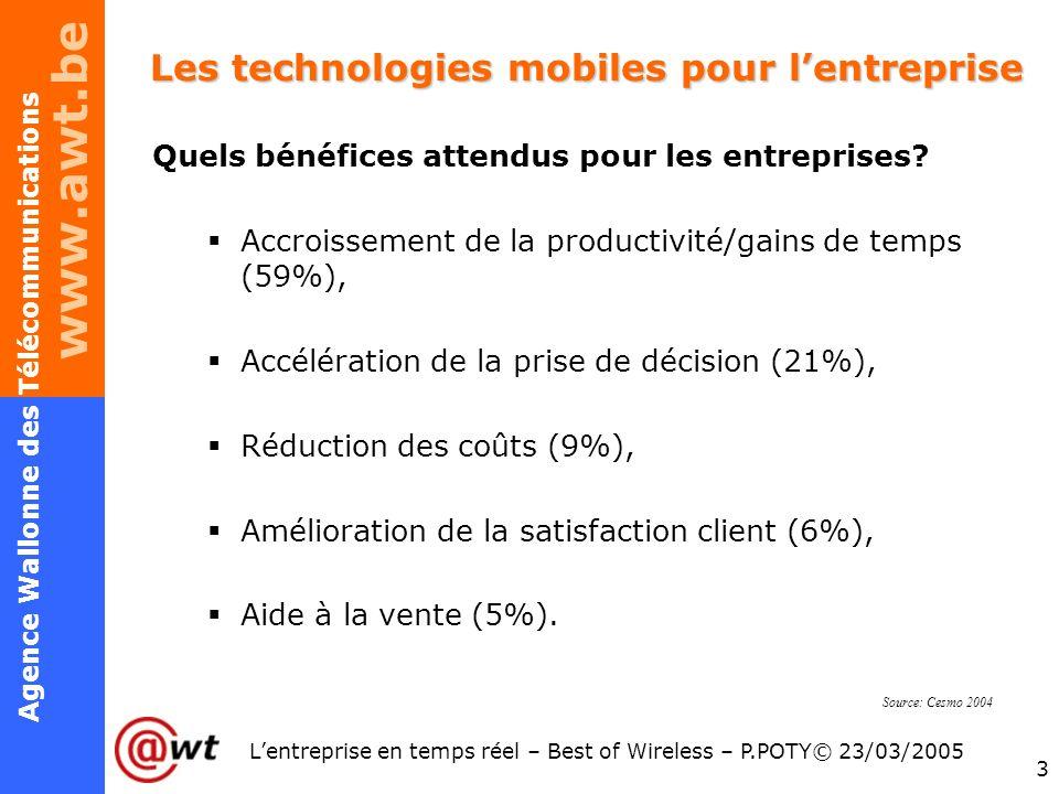 www.awt.be 3 Agence Wallonne des Télécommunications Lentreprise en temps réel – Best of Wireless – P.POTY© 23/03/2005 Les technologies mobiles pour le