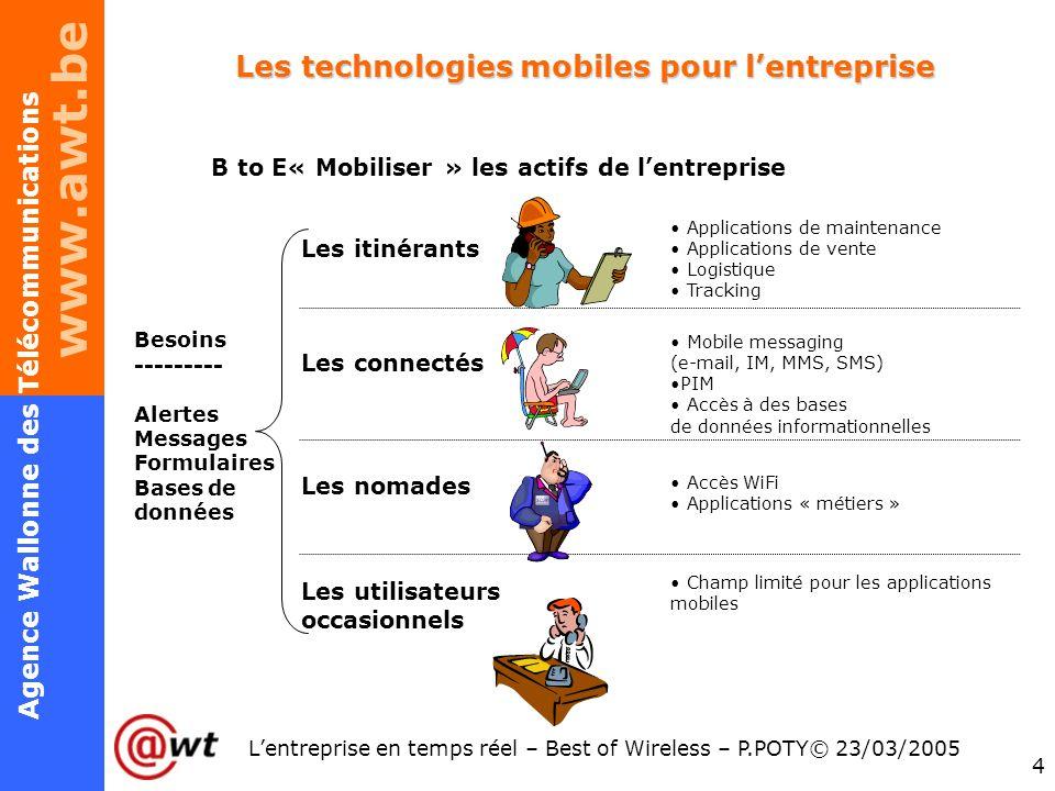 www.awt.be 4 Agence Wallonne des Télécommunications Lentreprise en temps réel – Best of Wireless – P.POTY© 23/03/2005 Les technologies mobiles pour le