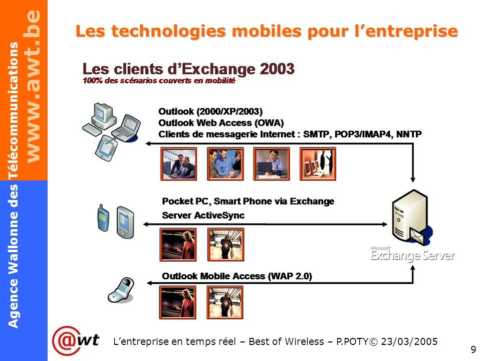 www.awt.be 9 Agence Wallonne des Télécommunications Lentreprise en temps réel – Best of Wireless – P.POTY© 23/03/2005 Les technologies mobiles pour le