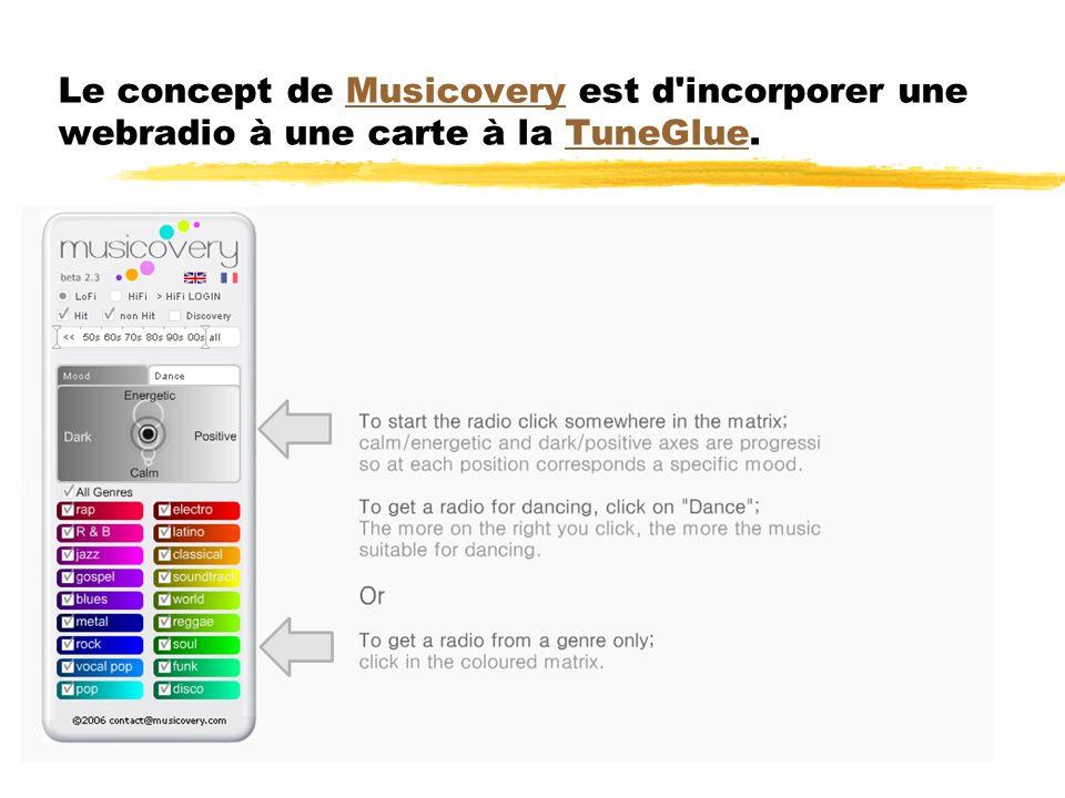 Le concept de Musicovery est d'incorporer une webradio à une carte à la TuneGlue.MusicoveryTuneGlue