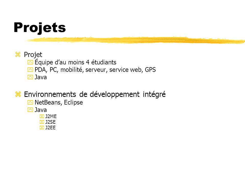 Projets zProjet yÉquipe dau moins 4 étudiants yPDA, PC, mobilité, serveur, service web, GPS yJava zEnvironnements de développement intégré yNetBeans,