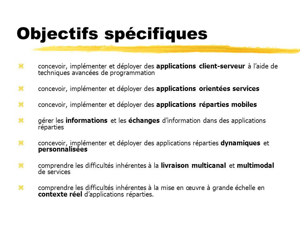 Objectifs spécifiques zconcevoir, implémenter et déployer des applications client-serveur à laide de techniques avancées de programmation zconcevoir,