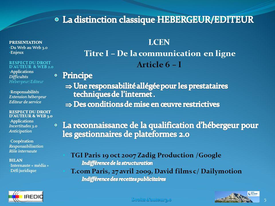 5 PRESENTATION Du Web au Web 3.0 Enjeux RESPECT DU DROIT DAUTEUR & WEB 2.0 Applications Difficultés Hébergeur/Editeur Responsabilités Extension héberg