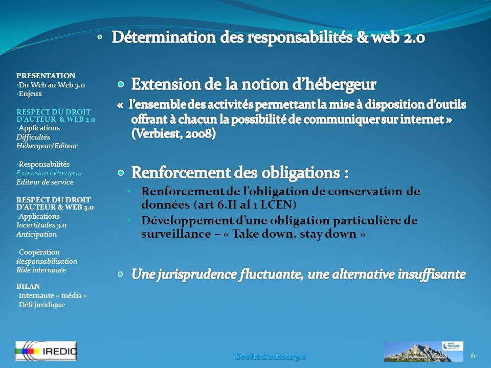 6 PRESENTATION Du Web au Web 3.0 Enjeux RESPECT DU DROIT DAUTEUR & WEB 2.0 Applications Difficultés Hébergeur/Editeur Responsabilités Extension héberg