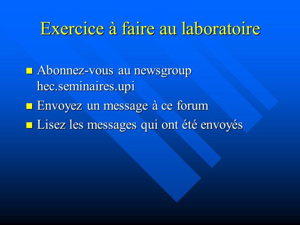 Exercice à faire au laboratoire n Configurer le logiciel de courrier n Lire le message qui vous a été envoyé n Envoyer un message à Jean.Talbot@hec.ca.