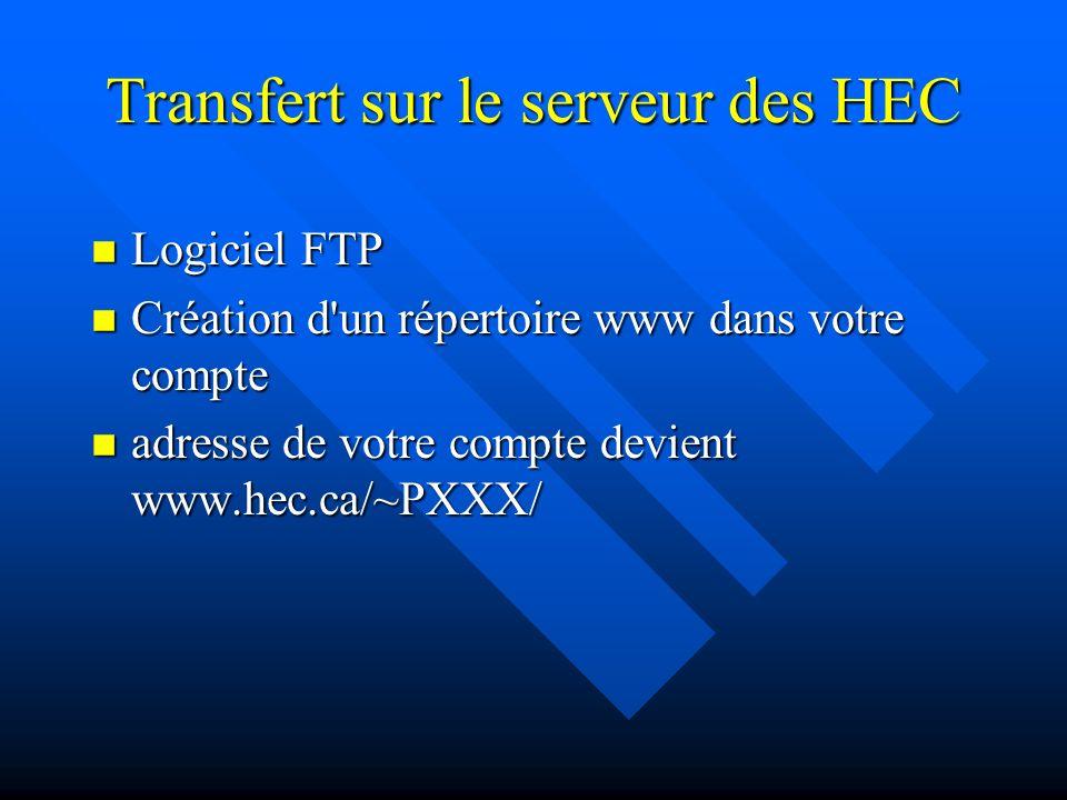 Ressources nécessaires n Compte sur le serveur Web de l École www.hec.ca n Éditeur html n Logiciel FTP pour transférer les fichiers