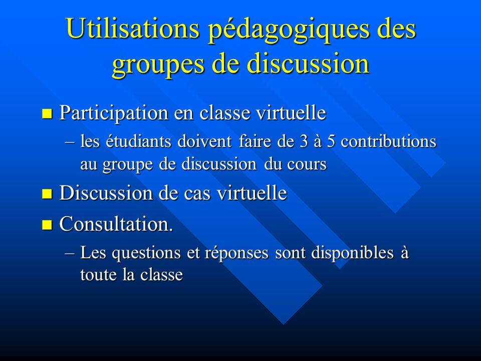 Groupes de discussion n Permettent à tous les participants déchanger entre eux hors des heures de classe n Deux technologies –Liste de distribution de E-mail.