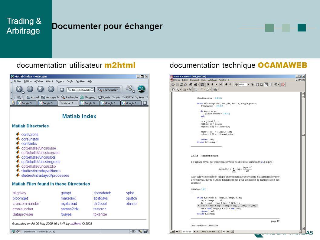 Trading & Arbitrage Documenter pour échanger documentation utilisateur m2html documentation technique OCAMAWEB