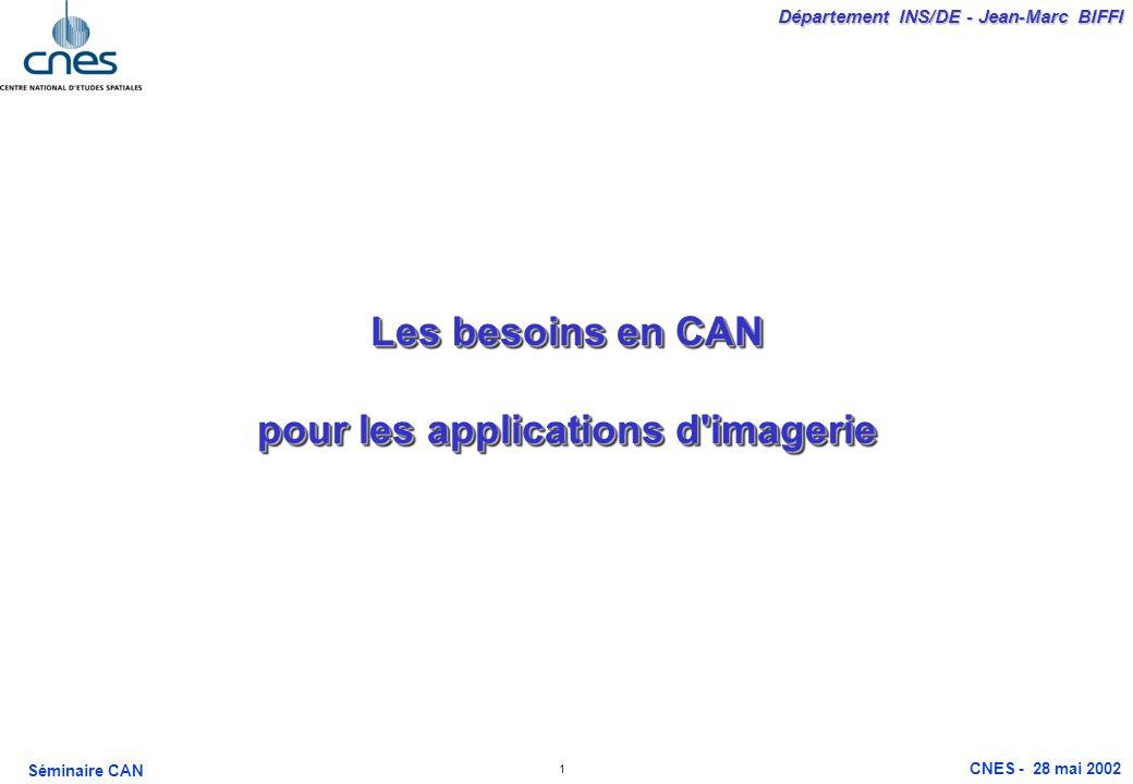 1 Département INS/DE - Jean-Marc BIFFI Séminaire CAN CNES - 28 mai 2002 Les besoins en CAN pour les applications d imagerie