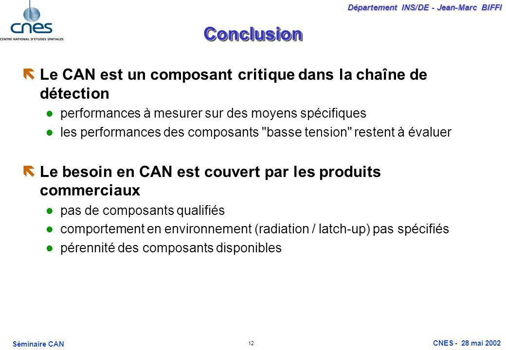 12 Département INS/DE - Jean-Marc BIFFI Séminaire CAN CNES - 28 mai 2002 ConclusionConclusion ëLe CAN est un composant critique dans la chaîne de déte