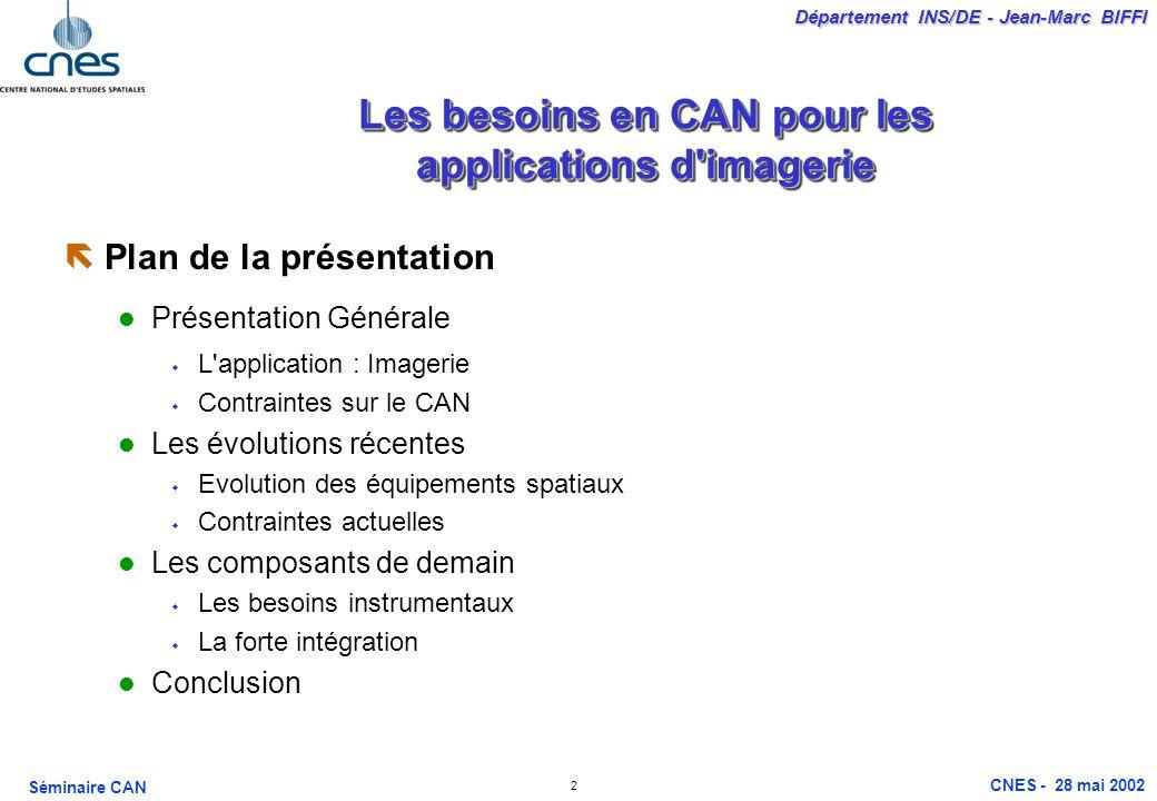 2 Département INS/DE - Jean-Marc BIFFI Séminaire CAN CNES - 28 mai 2002 Les besoins en CAN pour les applications d'imagerie ëPlan de la présentation P