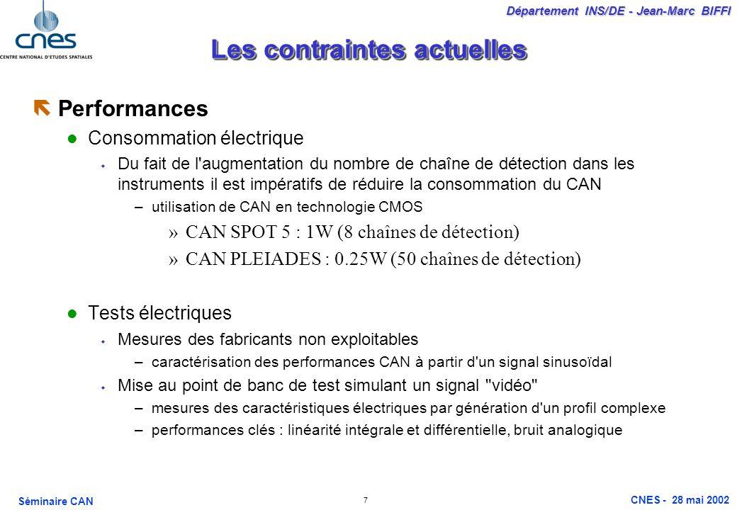 7 Département INS/DE - Jean-Marc BIFFI Séminaire CAN CNES - 28 mai 2002 Les contraintes actuelles ëPerformances Consommation électrique Du fait de l augmentation du nombre de chaîne de détection dans les instruments il est impératifs de réduire la consommation du CAN –utilisation de CAN en technologie CMOS »CAN SPOT 5 : 1W (8 chaînes de détection) »CAN PLEIADES : 0.25W (50 chaînes de détection) Tests électriques Mesures des fabricants non exploitables –caractérisation des performances CAN à partir d un signal sinusoïdal Mise au point de banc de test simulant un signal vidéo –mesures des caractéristiques électriques par génération d un profil complexe –performances clés : linéarité intégrale et différentielle, bruit analogique