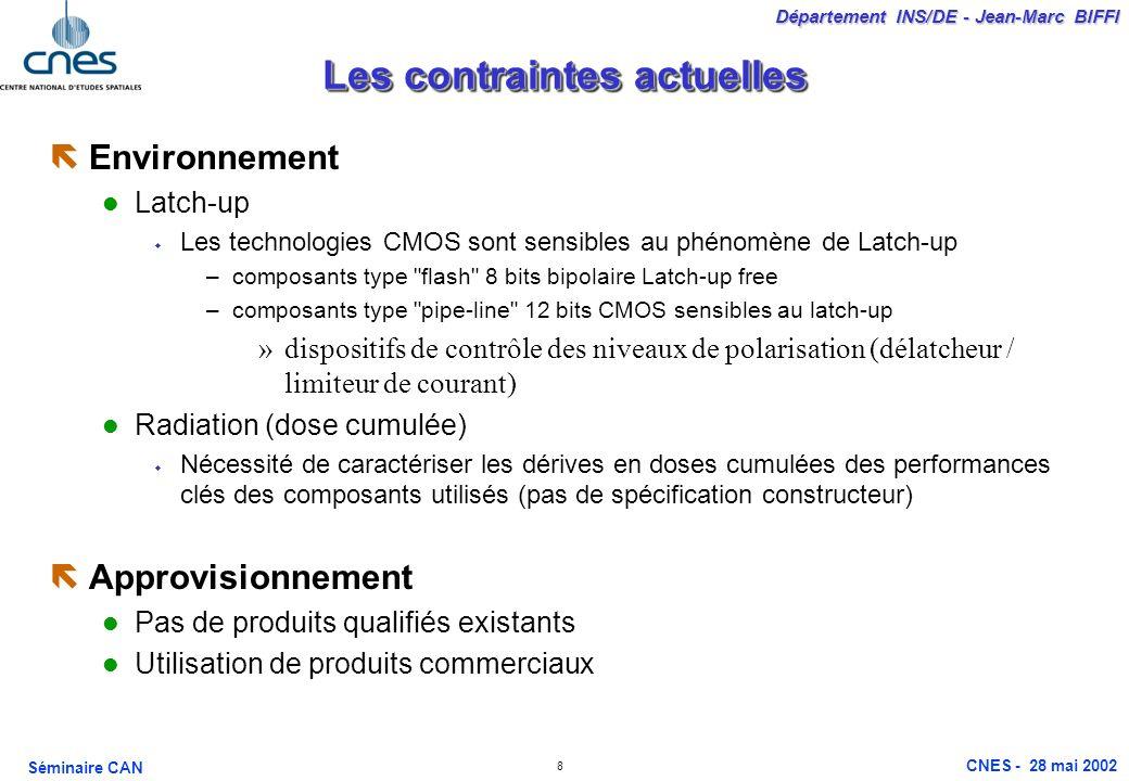 8 Département INS/DE - Jean-Marc BIFFI Séminaire CAN CNES - 28 mai 2002 Les contraintes actuelles ëEnvironnement Latch-up Les technologies CMOS sont s