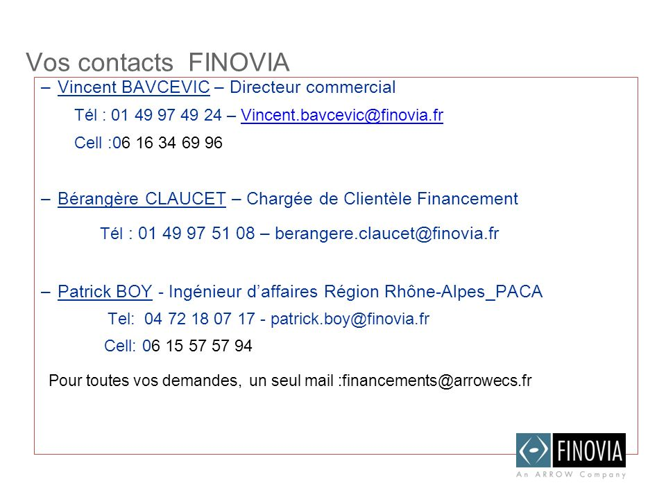 Vos contacts FINOVIA –Vincent BAVCEVIC – Directeur commercial Tél : 01 49 97 49 24 – Vincent.bavcevic@finovia.frVincent.bavcevic@finovia.fr Cell :06 1