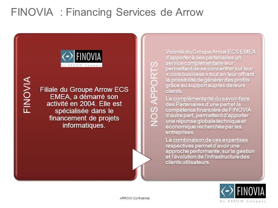FINOVIA : Financing Services de Arrow FINOVIA Filiale du Groupe Arrow ECS EMEA, a démarré son activité en 2004. Elle est spécialisée dans le financeme