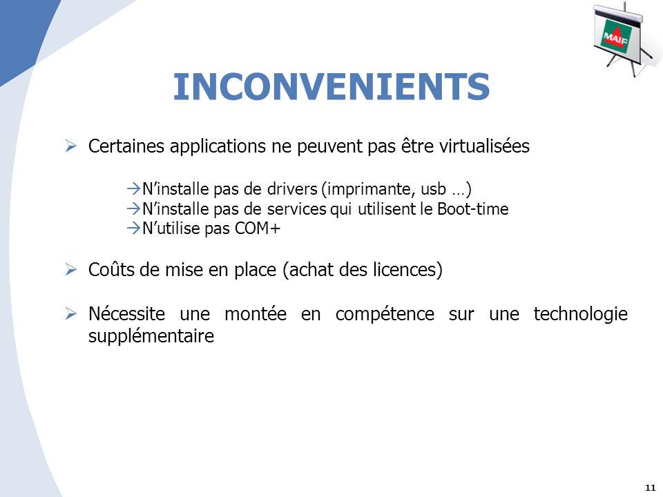 11 INCONVENIENTS Certaines applications ne peuvent pas être virtualisées Ninstalle pas de drivers (imprimante, usb …) Ninstalle pas de services qui utilisent le Boot-time Nutilise pas COM+ Coûts de mise en place (achat des licences) Nécessite une montée en compétence sur une technologie supplémentaire