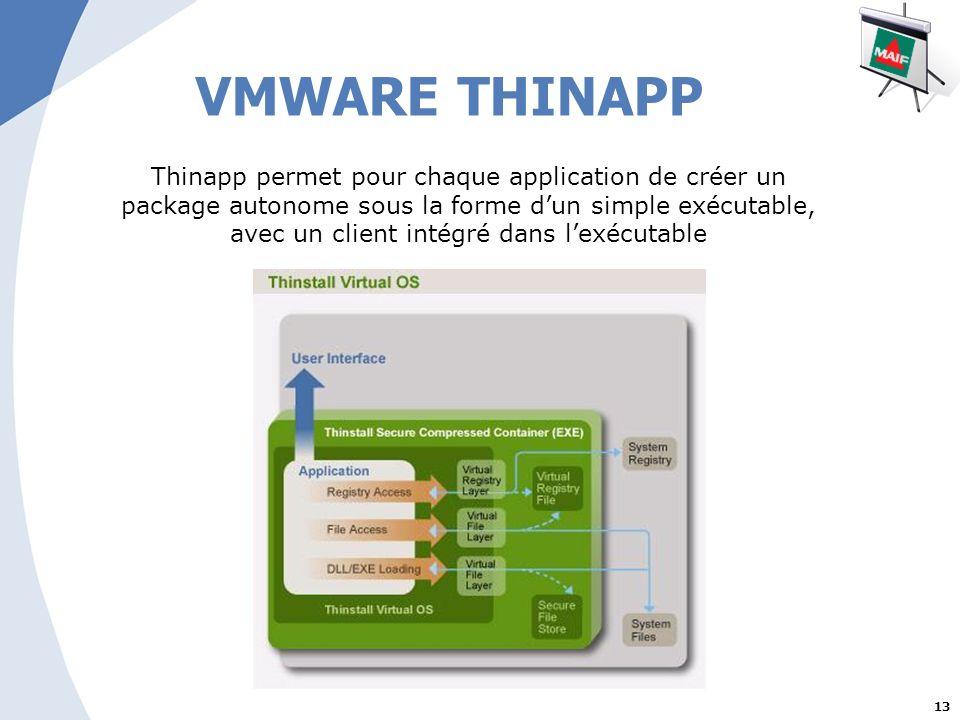 13 VMWARE THINAPP Thinapp permet pour chaque application de créer un package autonome sous la forme dun simple exécutable, avec un client intégré dans lexécutable