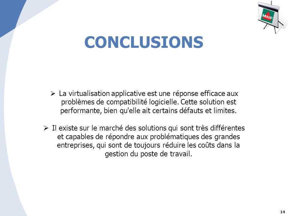 14 CONCLUSIONS La virtualisation applicative est une réponse efficace aux problèmes de compatibilité logicielle.