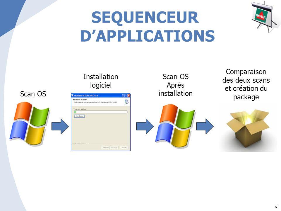 6 SEQUENCEUR DAPPLICATIONS Scan OS Installation logiciel Scan OS Après installation Comparaison des deux scans et création du package