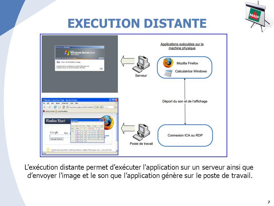 7 EXECUTION DISTANTE Lexécution distante permet dexécuter l application sur un serveur ainsi que denvoyer limage et le son que lapplication génère sur le poste de travail.