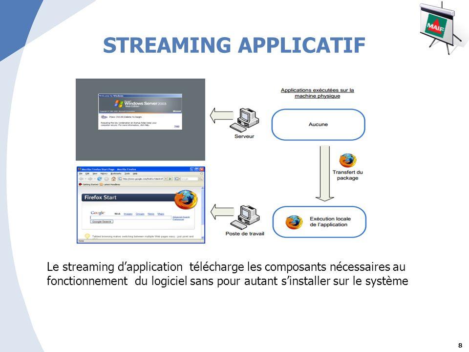 8 STREAMING APPLICATIF Le streaming dapplication télécharge les composants nécessaires au fonctionnement du logiciel sans pour autant sinstaller sur le système