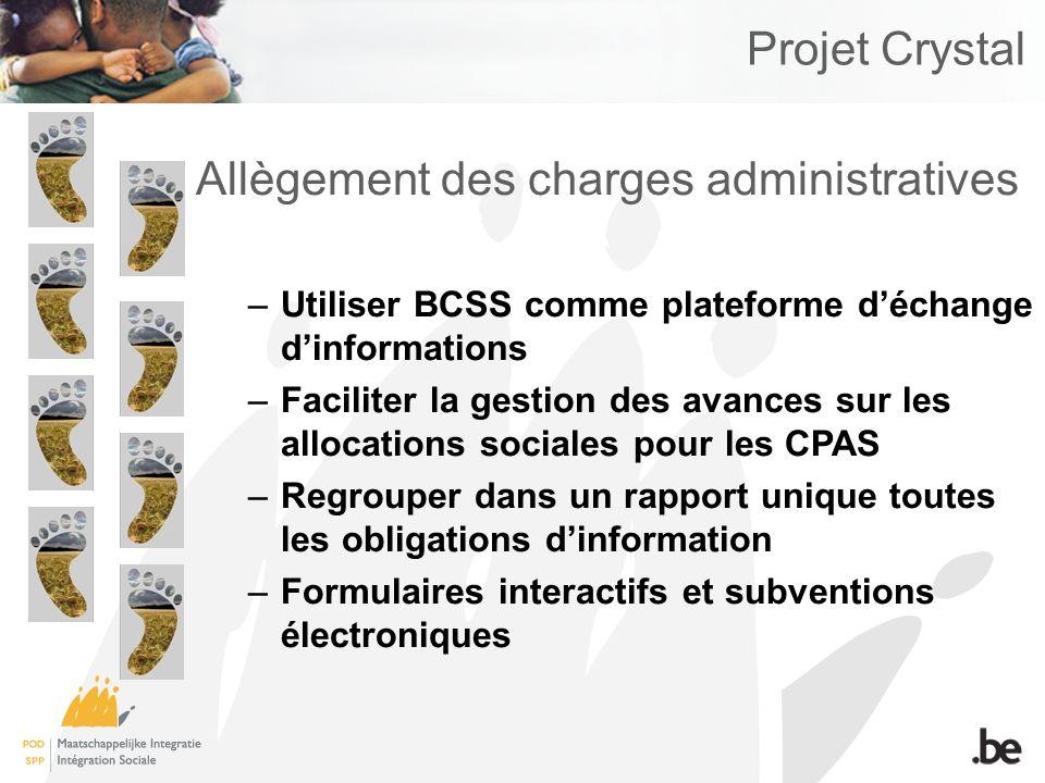 Projet Crystal Allègement des charges administratives –Utiliser BCSS comme plateforme déchange dinformations –Faciliter la gestion des avances sur les