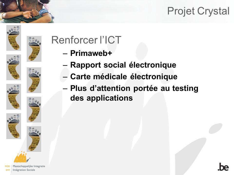 Projet Crystal Renforcer lICT –Primaweb+ –Rapport social électronique –Carte médicale électronique –Plus dattention portée au testing des applications